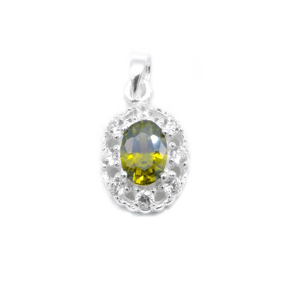 Alyanna Silver Oval Charm with Simulated Diamonds
