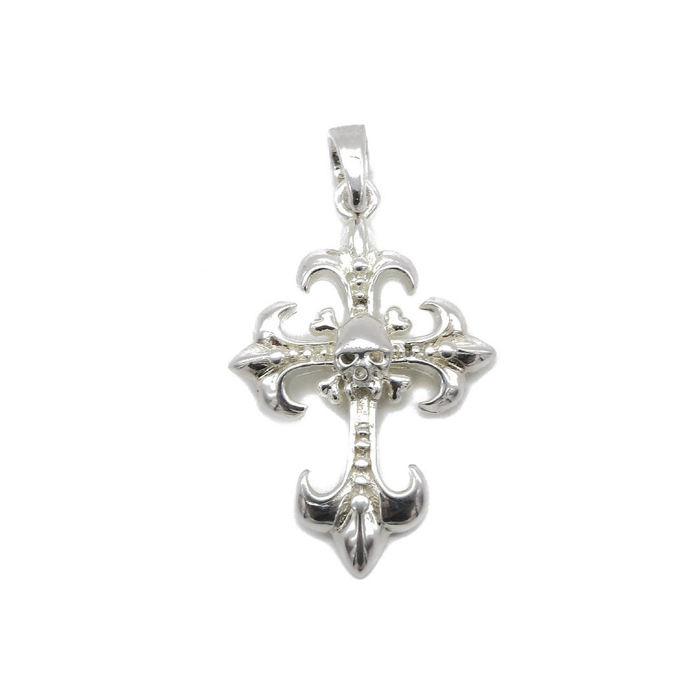 Load image into Gallery viewer, Ally Skull Cross Silver Charm