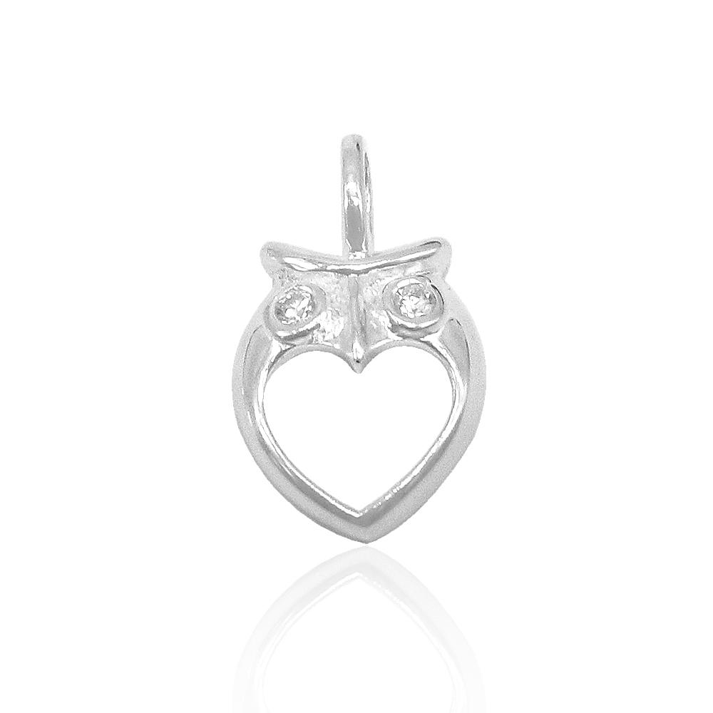 Aleena Owl with Open Heart Design Zirconia Eyes Silver Pendant
