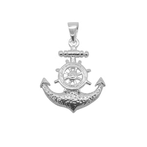 Adeline Captain Wheel on Anchor Silver Charm