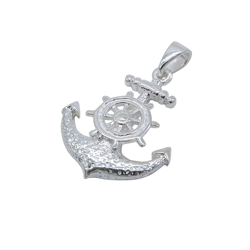 Load image into Gallery viewer, Adeline Captain Wheel on Anchor Silver Charm