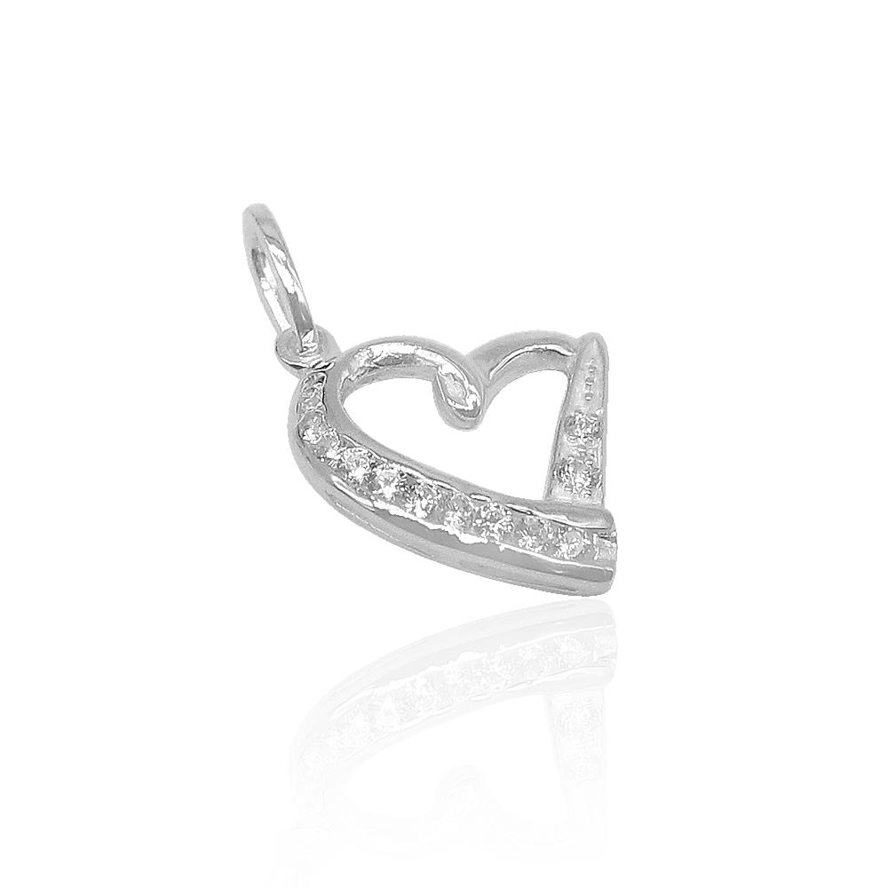 Aliza Slant Heart Silver Pendant with Cable Chain