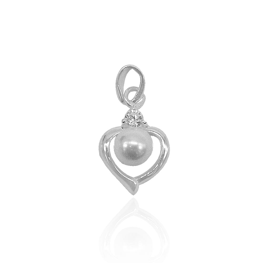 Aya Heart with Pearl on Top Silver Pendant