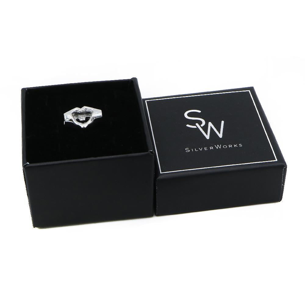 Amelia Silver Heart Pendant Hand Sign in a Box Packaging