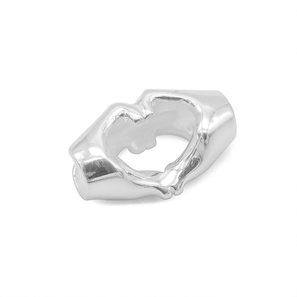 Amelia Silver Heart Pendant Hand Sign 2