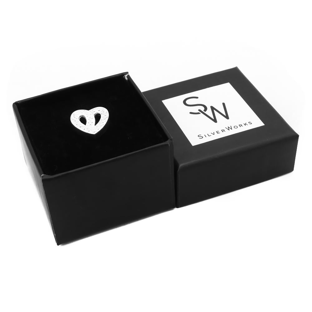 Aria Dotted Knot Silver Heart Pendant in a Box Packaging