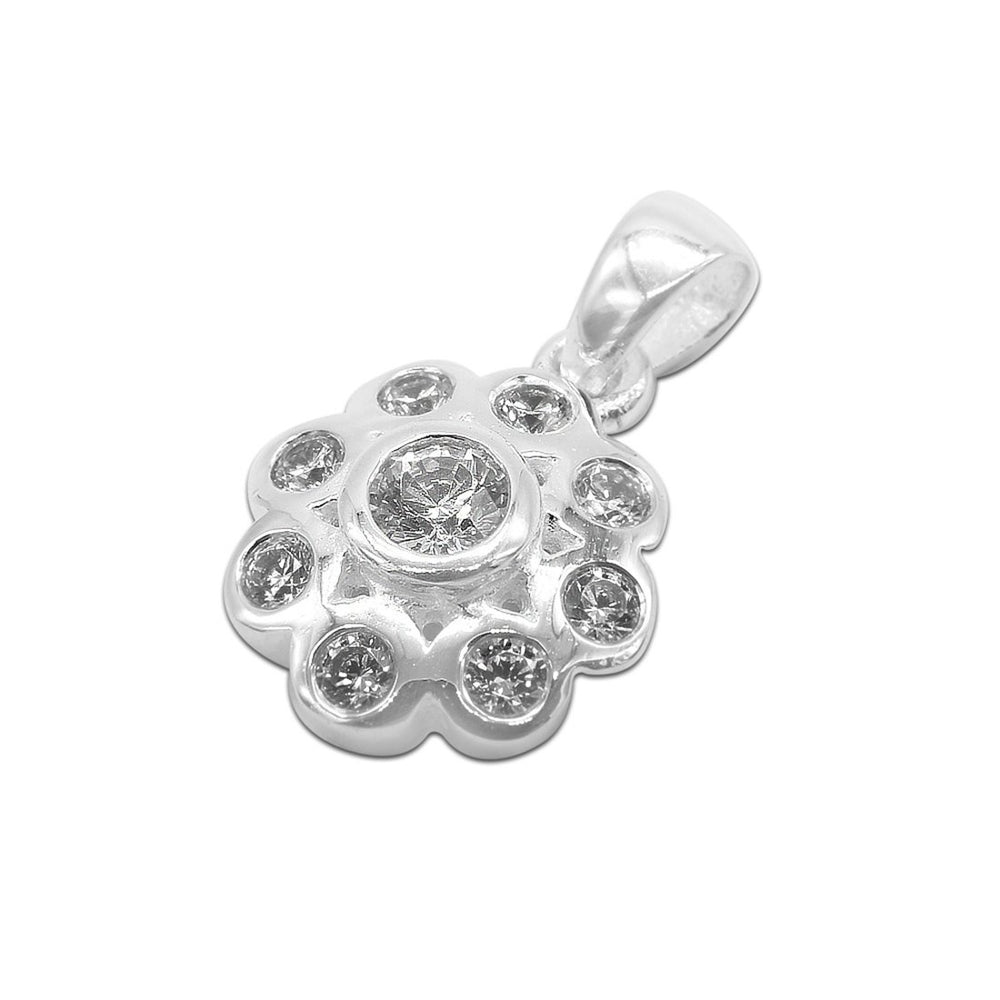 Load image into Gallery viewer, Aicelle Flower Silver Charm with Cubic Zirconia