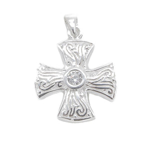 Akasha Silver Cross Charm with Cubic Zirconia