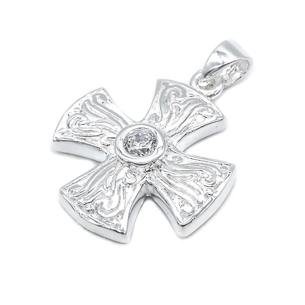 Akasha Silver Cross Charm with Cubic Zirconia 2