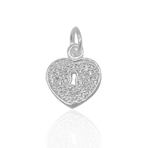 Load image into Gallery viewer, Andi Lock Heart with Zirconia Stone Charm Silver Pendant