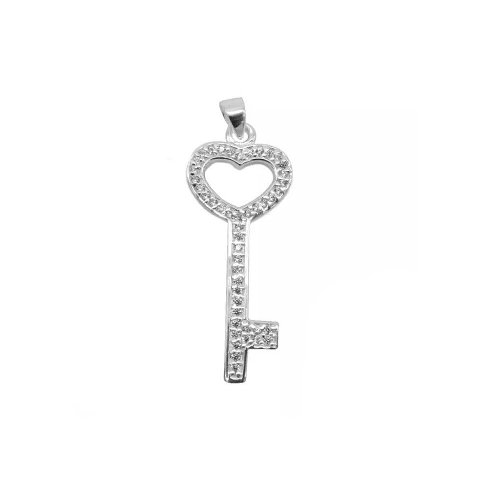 Annabelle Heart Key Silver Charm with Zirconia Stones