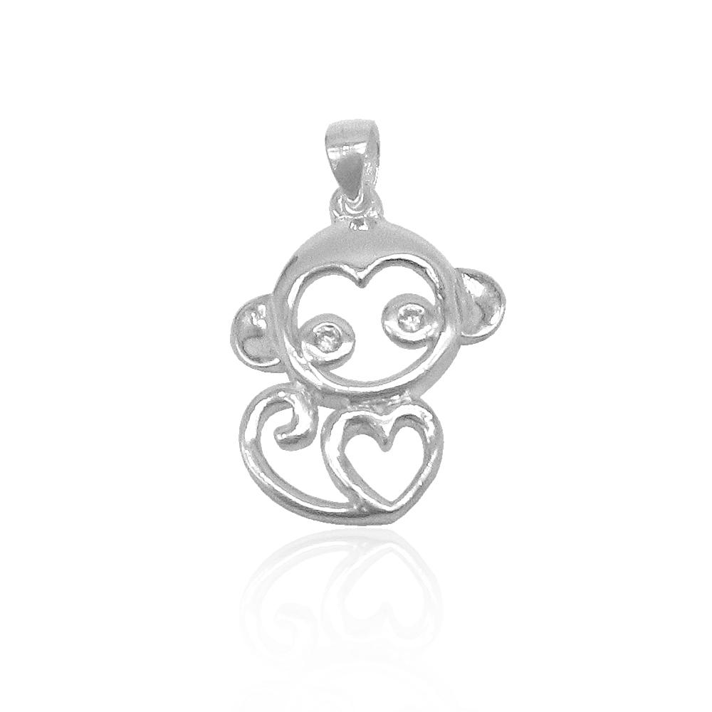 Adelina Open Monkey with Heart Pendant