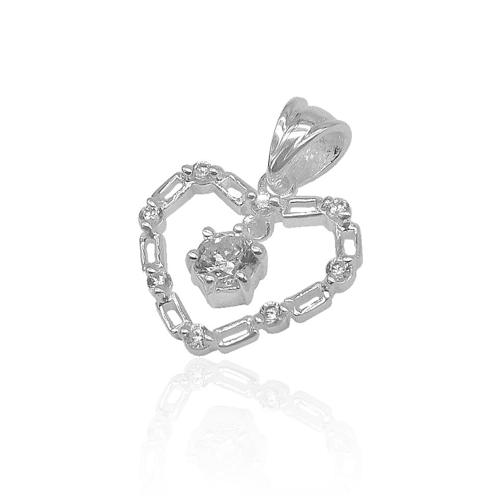 Aleah Open Cable Heart with Drop Zirconia Stone Silver Pendant