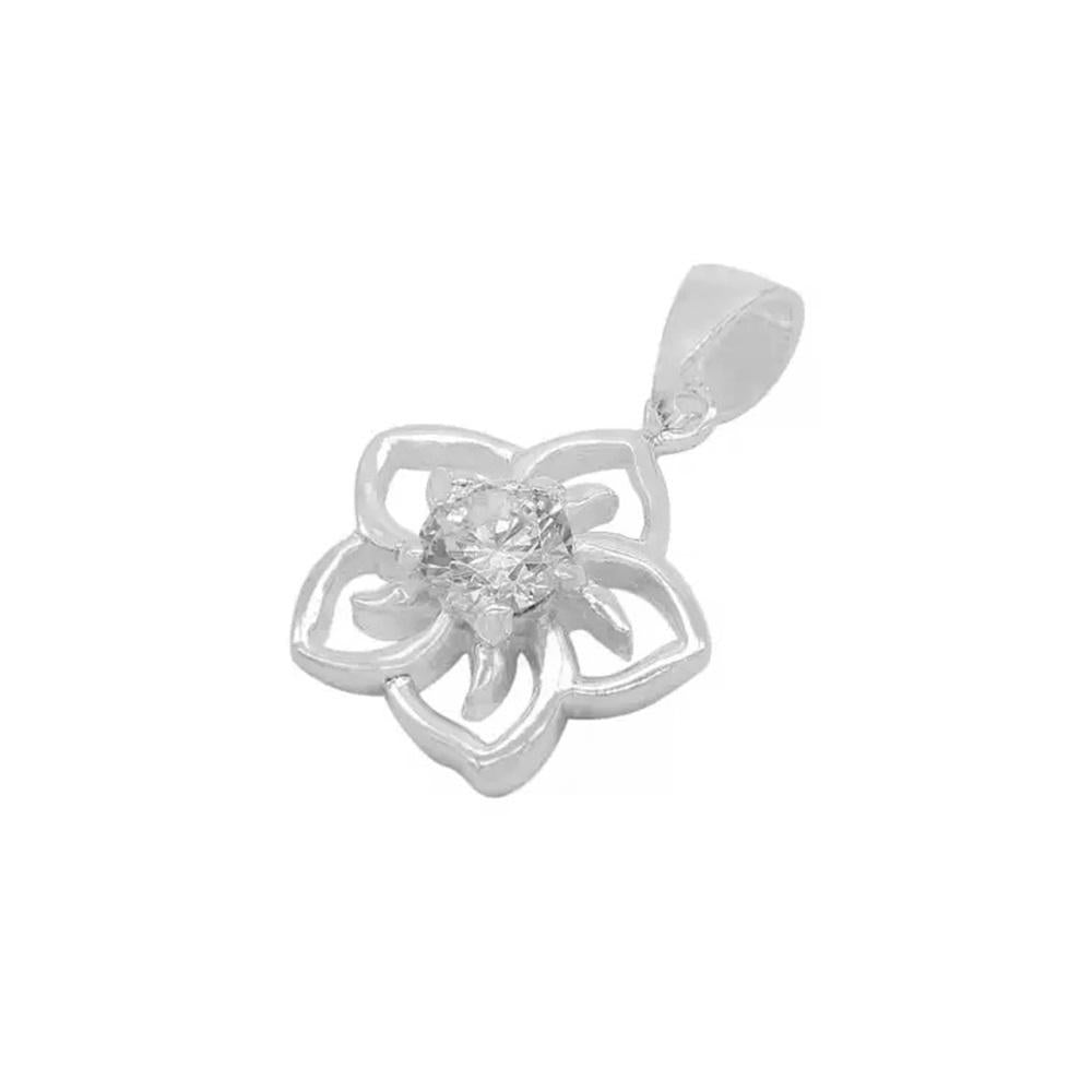 Aira Open Flower Silver Charm with Zirconia Stone
