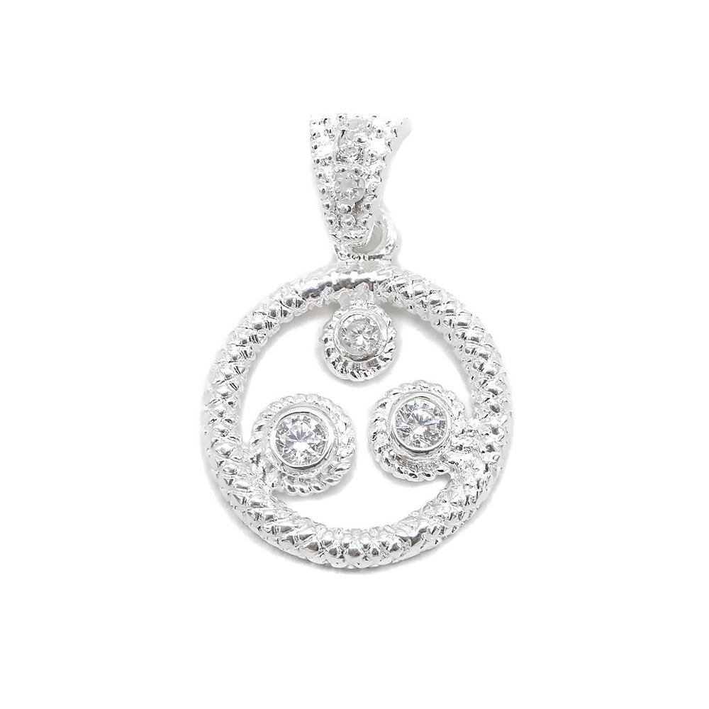 Load image into Gallery viewer, Alanna Snake Sketch Halo with Round Cubic Zirconia Silver Pendant