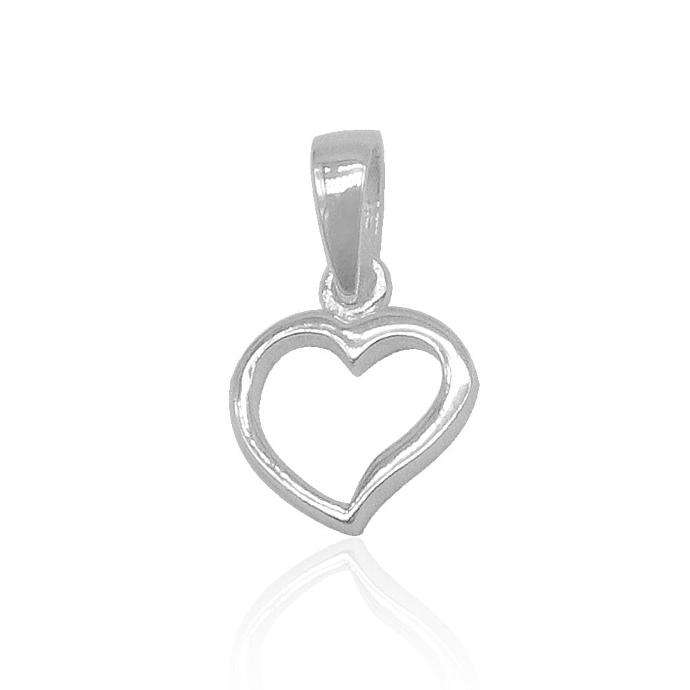 Load image into Gallery viewer, Amora Cutout Slanted Heart Charm Silver Pendant