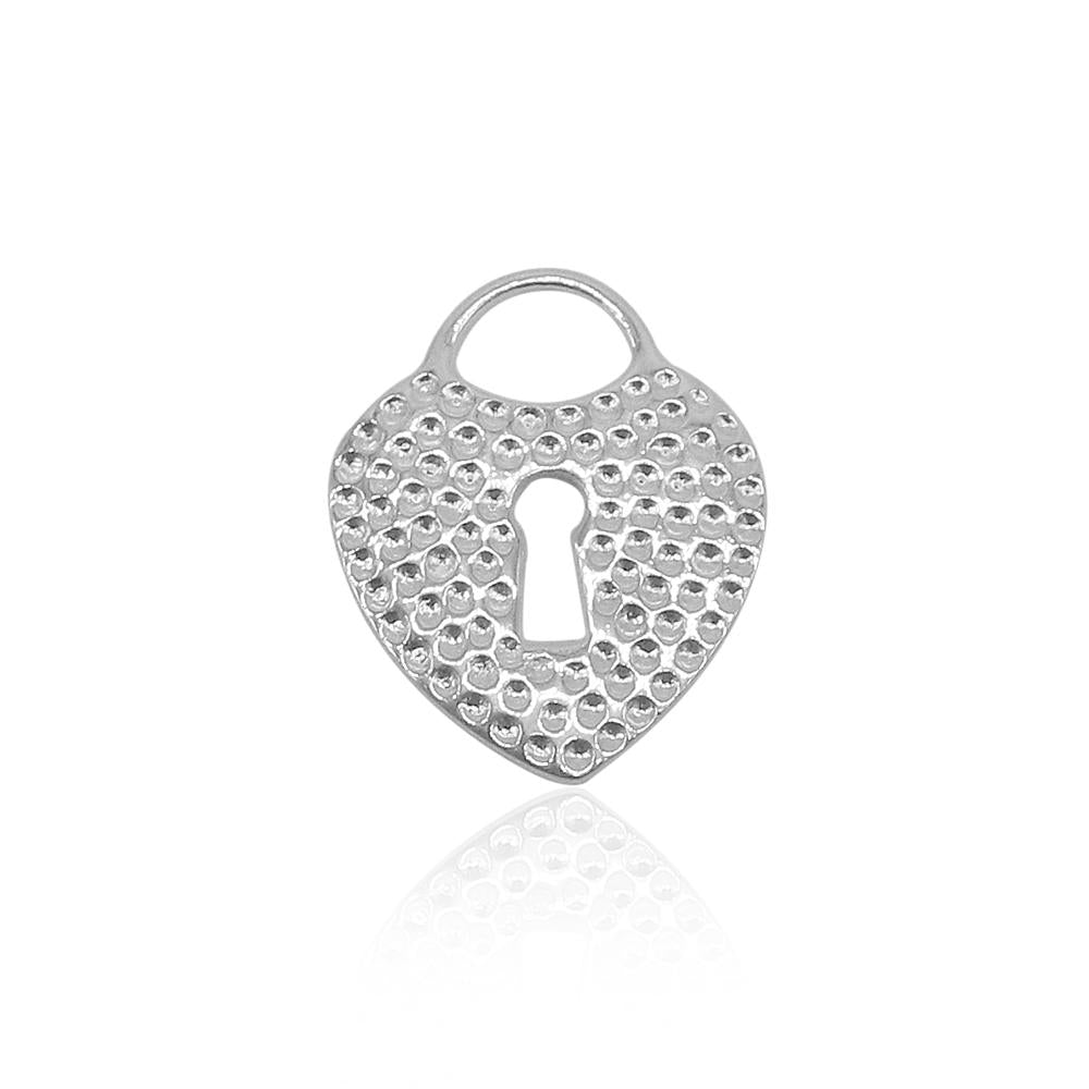 Load image into Gallery viewer, Amalia Heart Padlock Silver Pendant