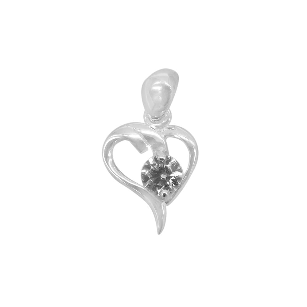 Alara Silver Abstract Heart Charm with Cubic Zirconia