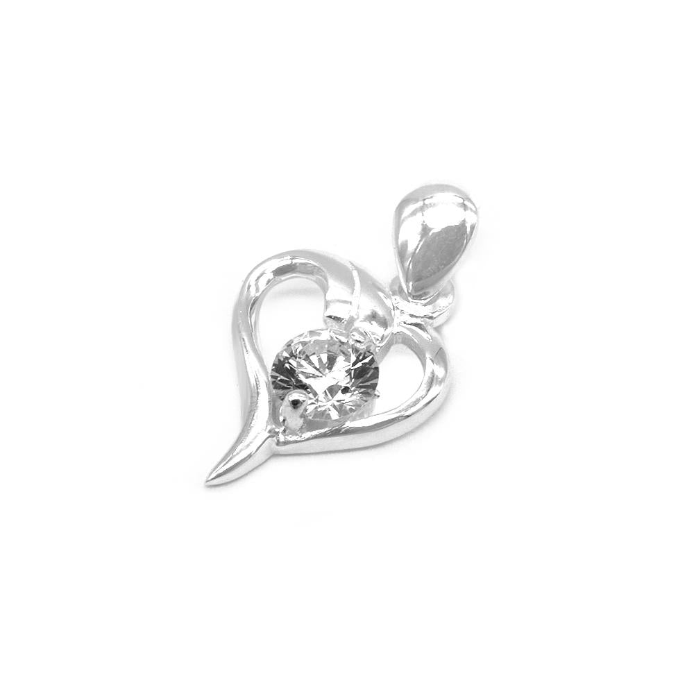 Alara Silver Abstract Heart Charm with Cubic Zirconia 2