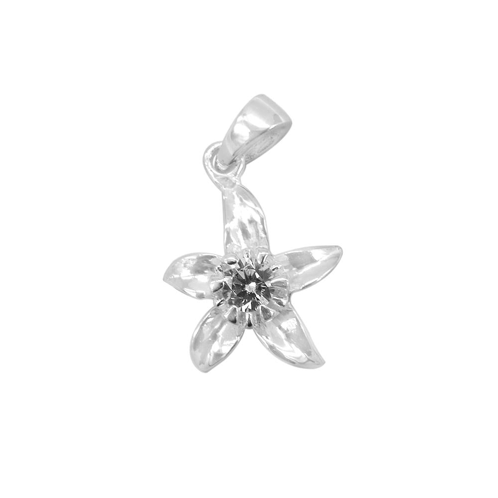 Alea Silver Flower Charm with Cubic Zirconia