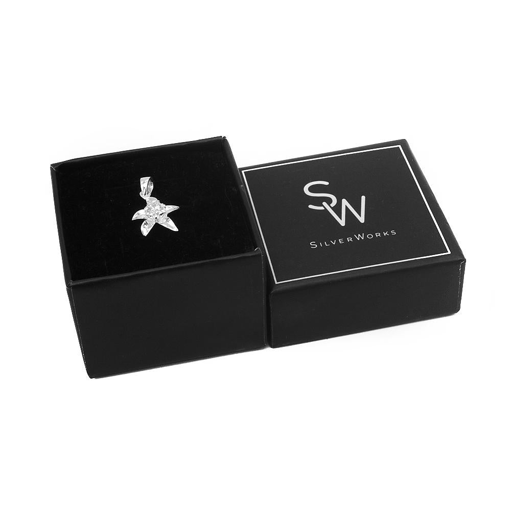 Alea Silver Flower Charm with Cubic Zirconia Box Packaging