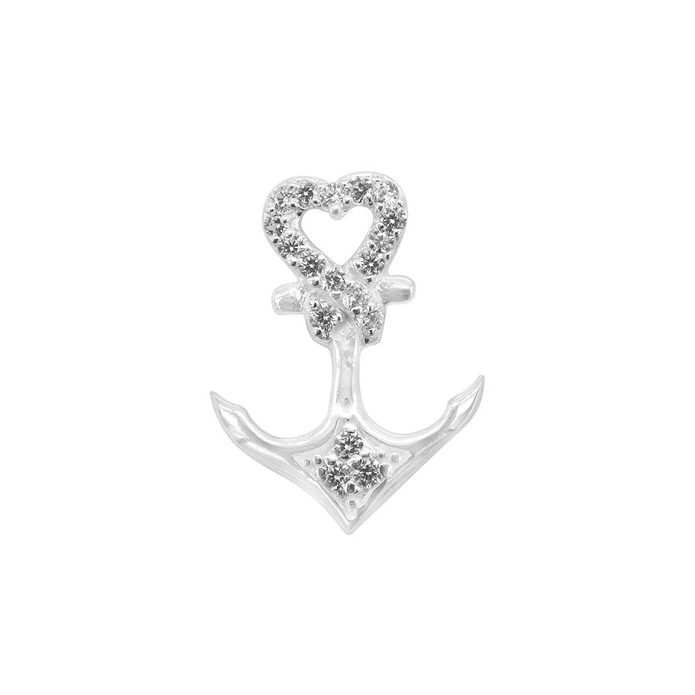 Alena Silver Anchor Charm with Cubic Zirconia