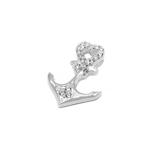 Alena Silver Anchor Charm with Cubic Zirconia 2