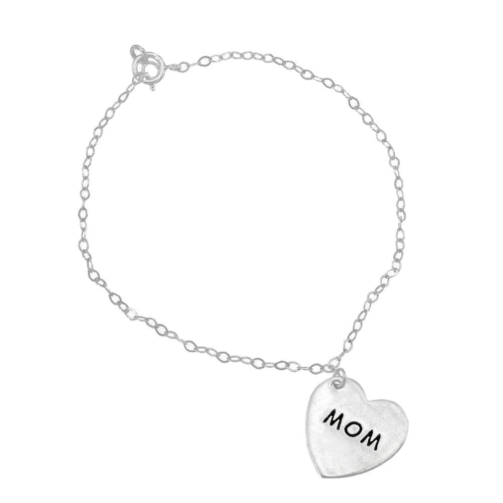 Load image into Gallery viewer, Crane Engraved Silver Mom Heart Charm Bracelet with Anchor Chain