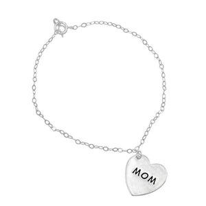 Crane Engraved Silver Mom Heart Charm Bracelet with Anchor Chain