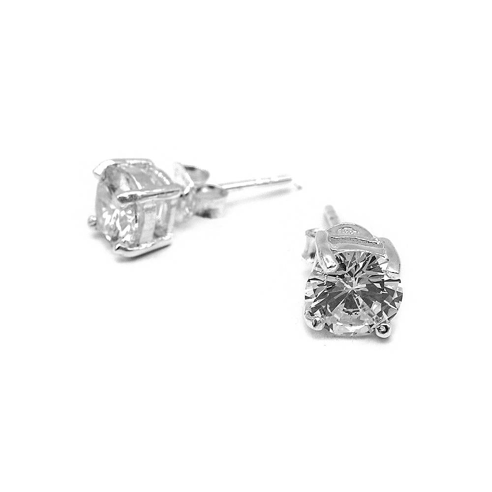 Nadine Round Prong Stud Silver Earrings with Cubic Zirconia