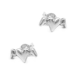 Maddox Heart Angel Silver Stud Earrings