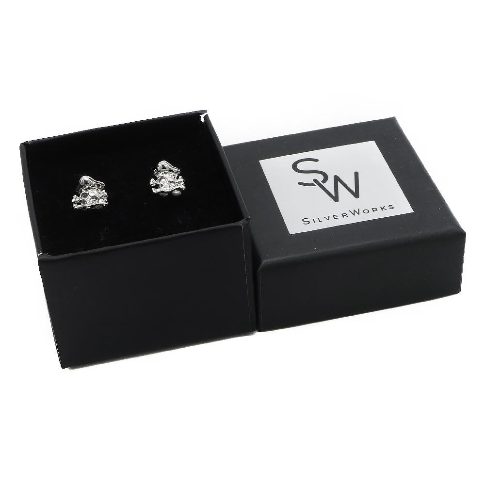 Load image into Gallery viewer, Mirae Pirate Skull Design Stud Silver Earrings