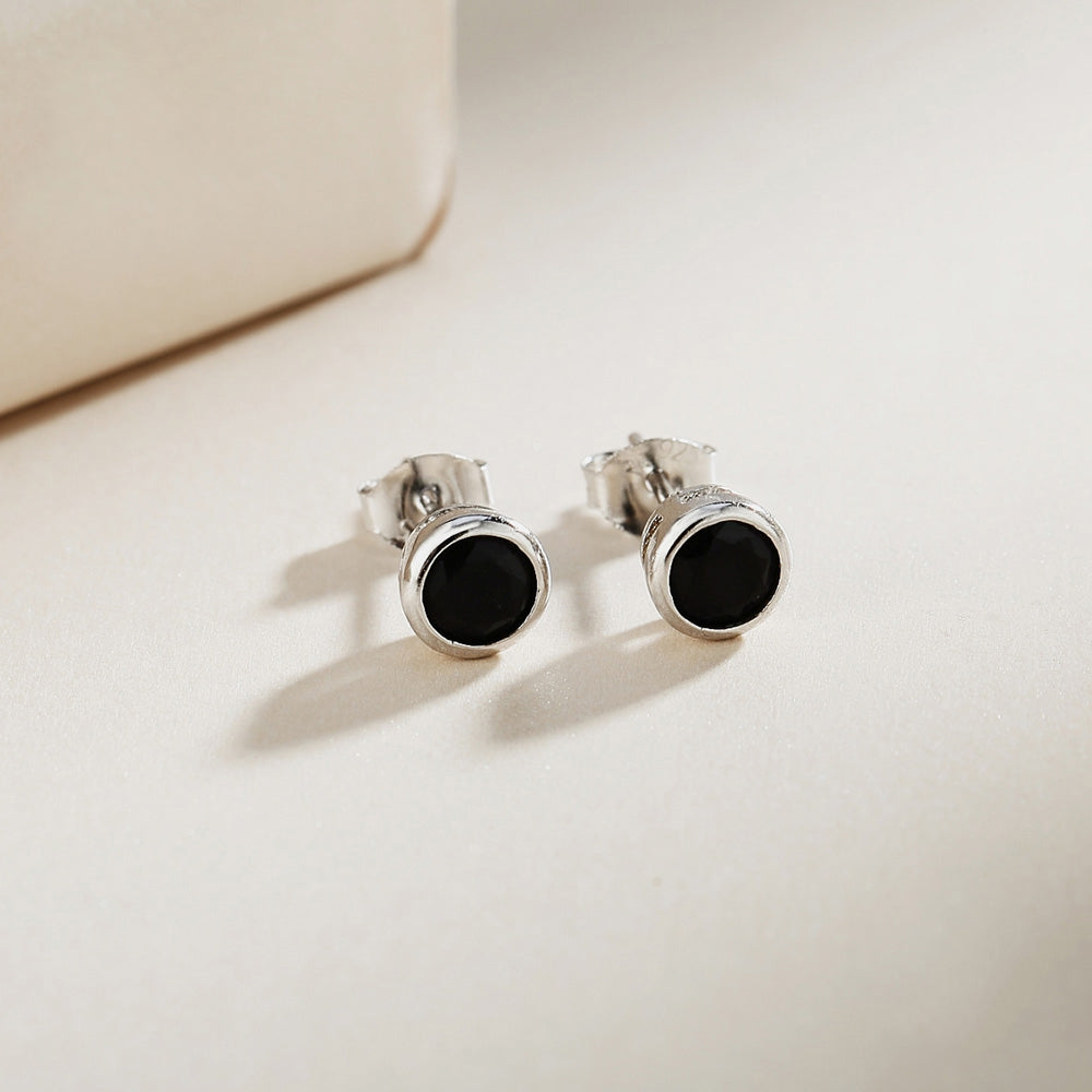 Madelhari Black Onyx Round Bezel Silver Stud Earrings 2