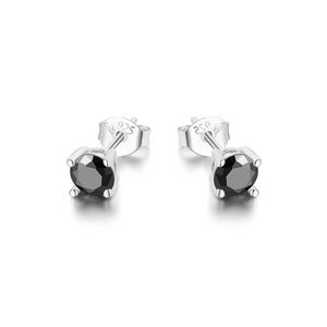 Magnild Black Onyx with Round Four Prong Silver Stud Earrings