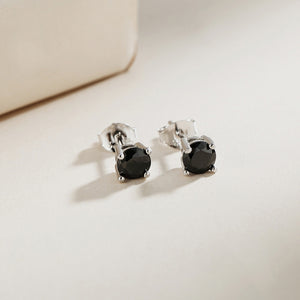 Magnild Black Onyx with Round Four Prong Silver Stud Earrings 2