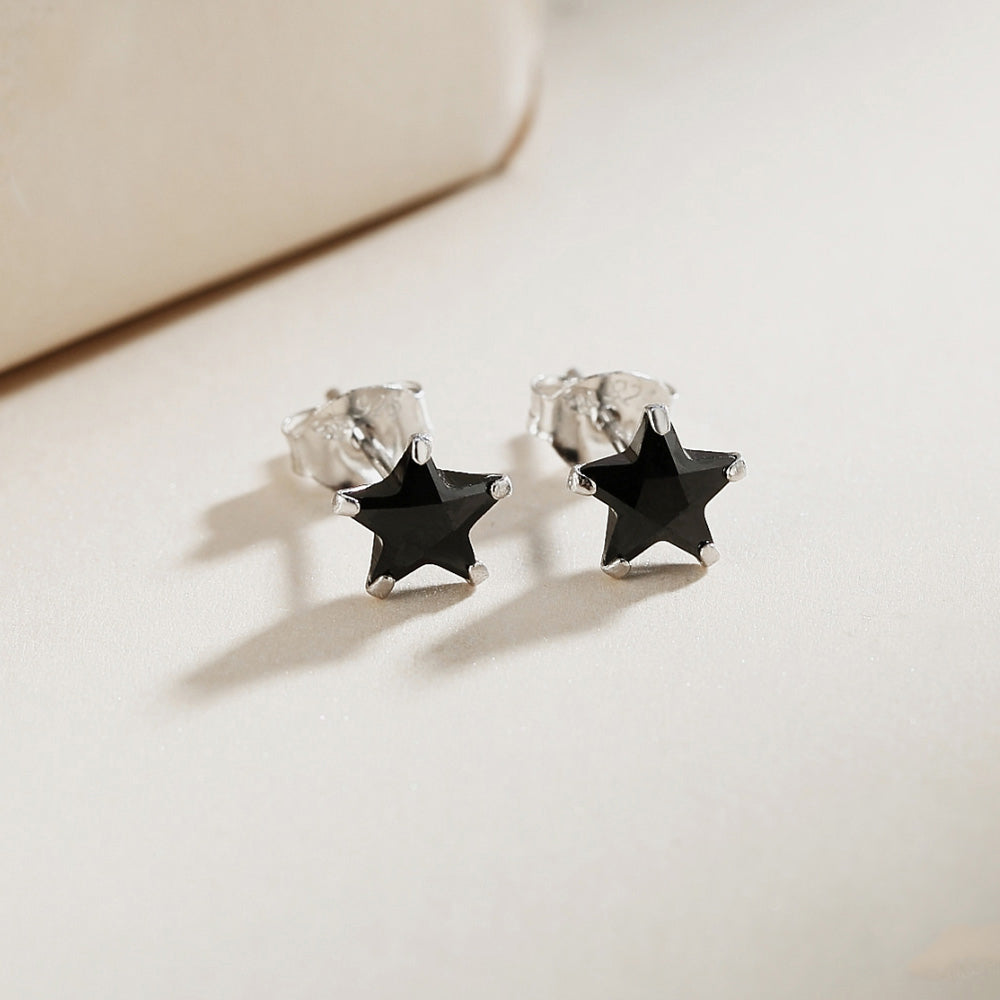 Load image into Gallery viewer, Maille Black Onyx Star Silver Stud Earrings 2