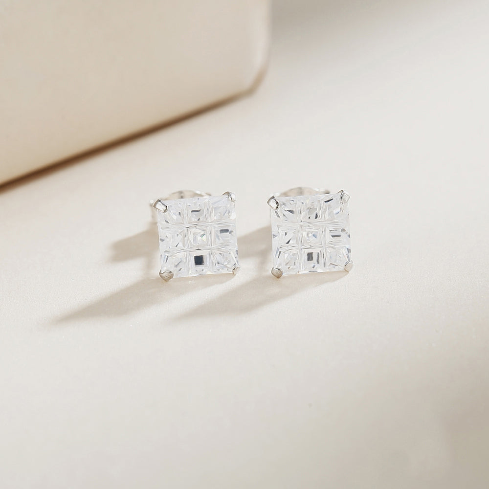 Maitland Invisible Silver Square Cut Stud Earrings 2