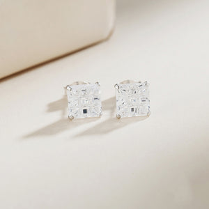 Load image into Gallery viewer, Maitland Invisible Silver Square Cut Stud Earrings 2