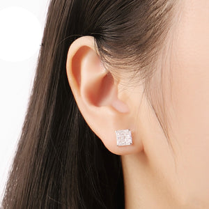 Load image into Gallery viewer, Maitland Invisible Silver Square Cut Stud Earrings Model