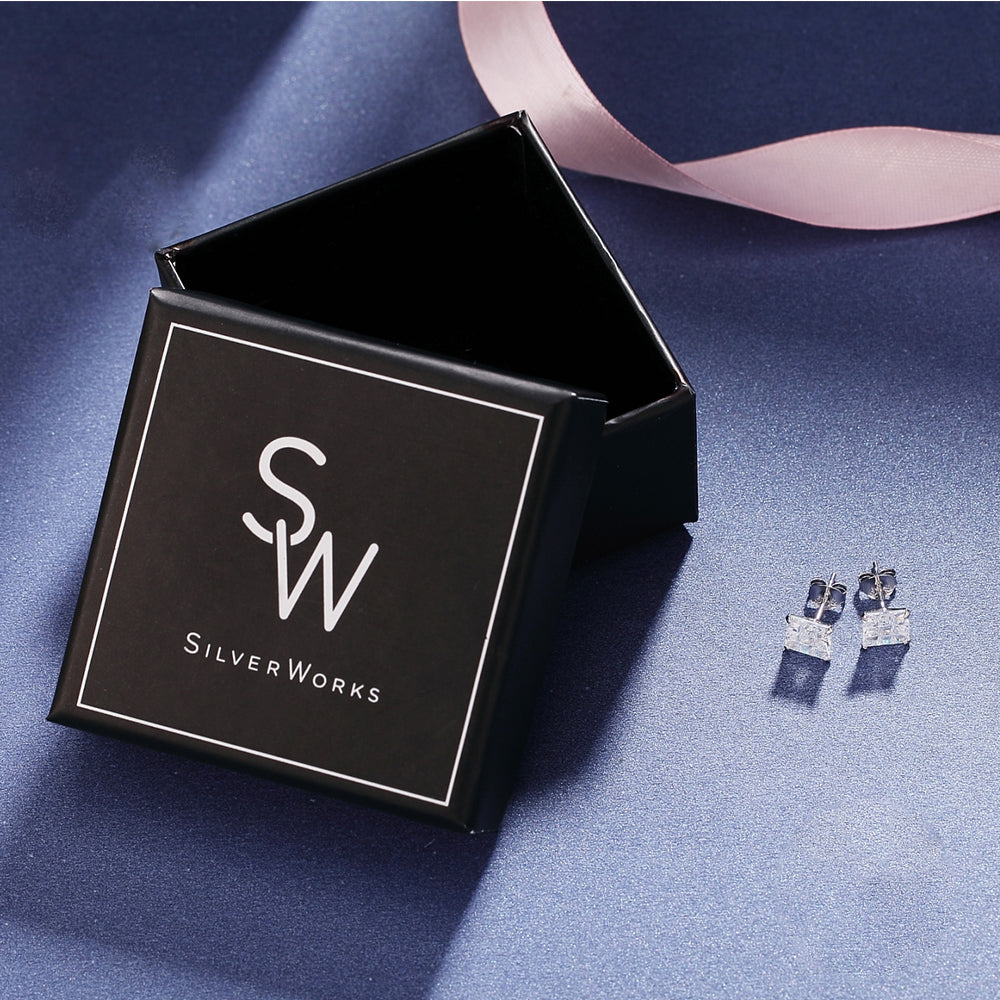 Load image into Gallery viewer, Maitland Invisible Silver Square Cut Stud Earrings Box Packaging