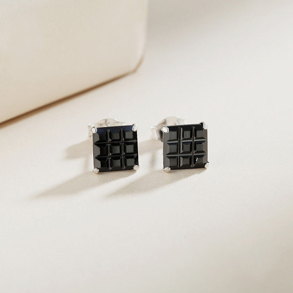 Load image into Gallery viewer, Mal Black Onyx Square Cut Silver Stud Earrings 2