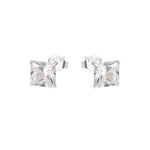 Malin Four-Prong Silver Stud Earrings
