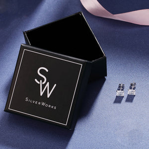 Malin Four-Prong Silver Stud Earrings box packaging