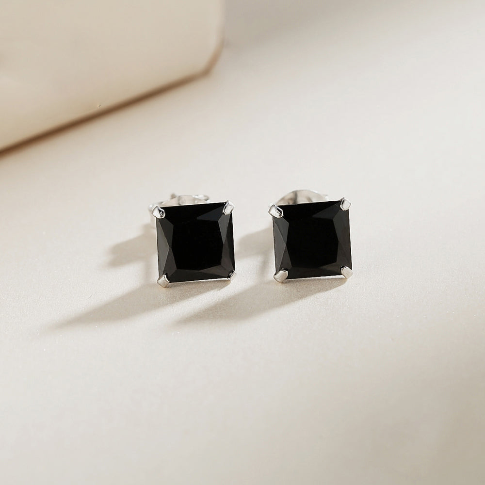 Mallory Black Onyx Silver Stud Earrings 2