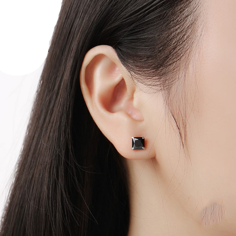 Load image into Gallery viewer, Mallory Black Onyx Silver Stud Earrings on Model