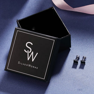 Load image into Gallery viewer, Mallory Black Onyx Silver Stud Earrings box Packaging