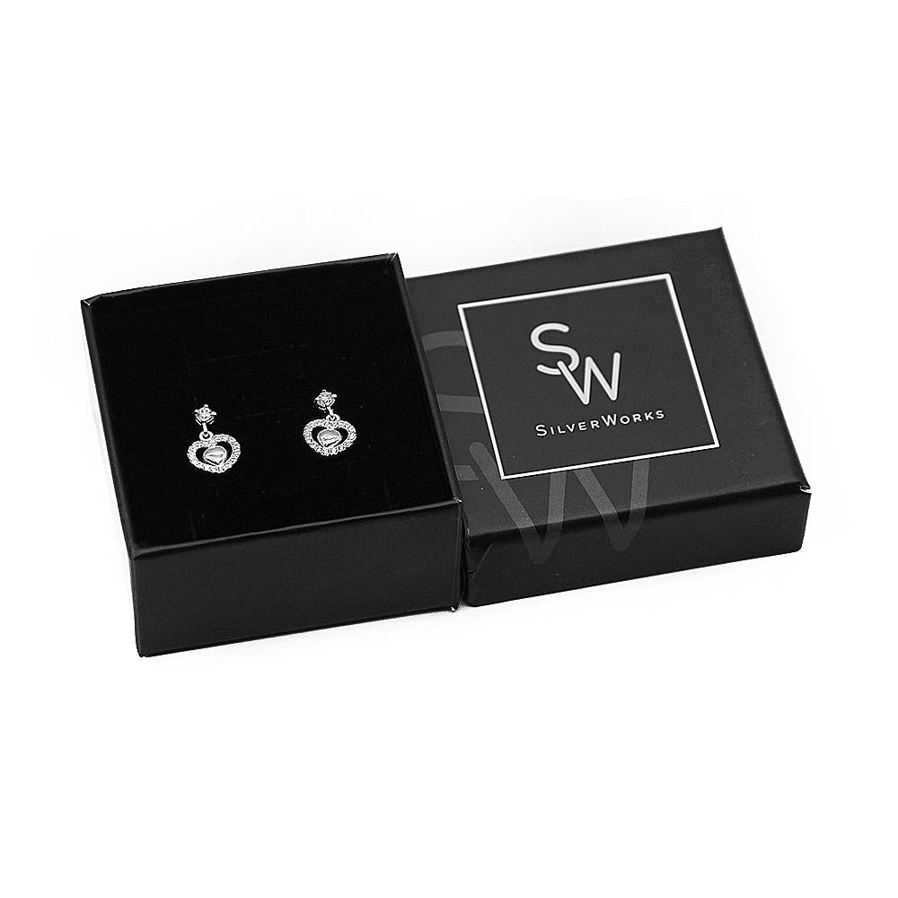 Marisol Silver Stud with Dangling Zirconian Heart Earrings