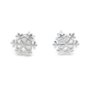 Mirabelle Snowflakes Silver Stud Earrings