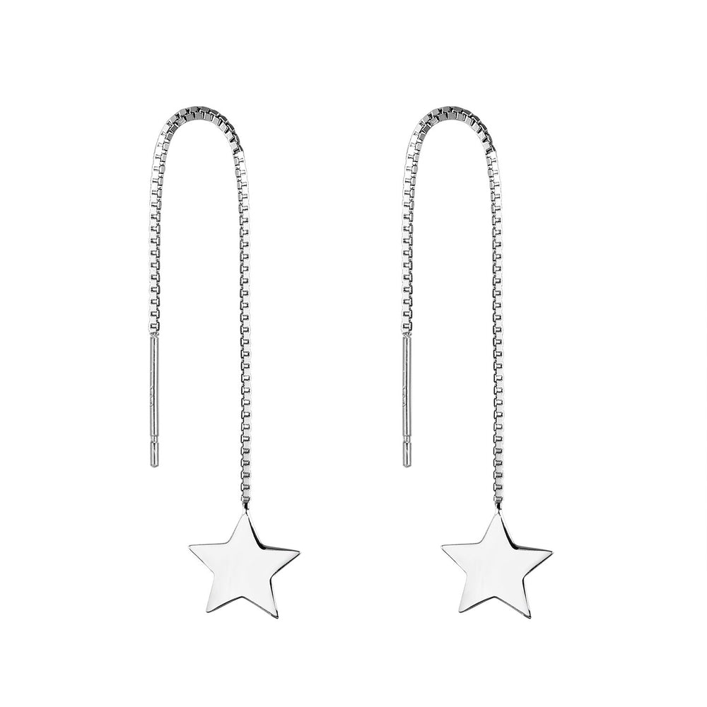Load image into Gallery viewer, Noella Star Silver Threader Earrings Women
