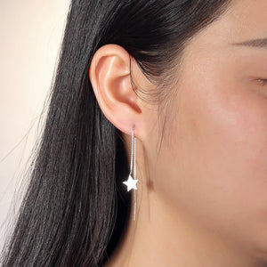 Load image into Gallery viewer, Noella Star Silver Threader Earrings Women on Model